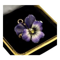 Antique Art Nouveau Crane Theurer 14K Gold Enamel Pearl Pansy Flower Watch Pin Pendant