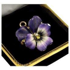 Antique Art Nouveau Crane Theurer 14K Gold Enamel Pearl Pansy Flower Watch Pin Pendant