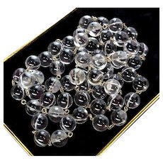 Art Deco Undrilled Pools Of Light Rock Crystal Orbs Sterling Band Necklace 44""