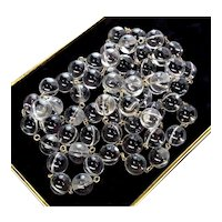 """Art Deco Undrilled Pools Of Light Rock Crystal Orbs Sterling Band Necklace 44"""""""