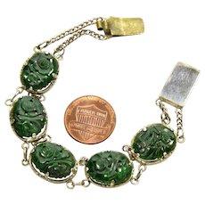 Antique Edwardian Chinese Carved Jadeite Jade Link Bracelet