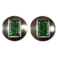 Antique Edwardian Chinese Carved Jadeite Jade Sterling Earrings