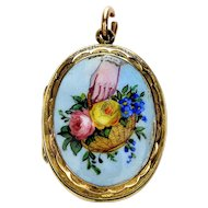 Antique Victorian 9K Hand With Basket Of Flowers Enamel Picture Locket Pendant