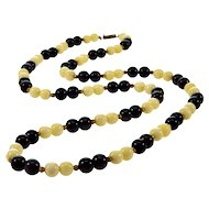 Art Deco Chinese Export Black Jade & Bovine Bone Bead Necklace Silver Clasp