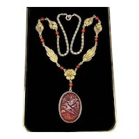 Art Deco Chinese Export Carved Carnelian Agate Filigree Sterling Necklace