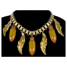 Art Deco Vaseline Bakelite Amphoras Book Chain Necklace Haskell