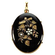 Antique Victorian 14K Engraved Black Enamel Pearls 2 Picture Locket