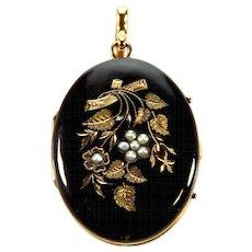 Antique Victorian 14K Engraved Black Enamel Pearls 2 Picture Locket