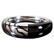 Emporio Armani Zebra Enamel Sterling Bangle Bracelet New With Tag