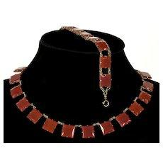 Art Deco Czech Carnelian Glass Riviera Necklace Bracelet