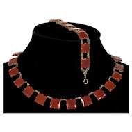 Art Deco Czech Carnelian Glass Riviera Necklace Bracelet