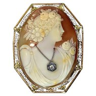 20's Italian Art Deco 14K Yellow Gold Large Carved Shell Cameo Habille Brooch Pendant