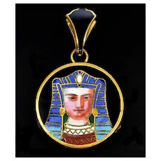 Antique Art Deco Egyptian Revival French Enamel Pharaoh Locket Pendant