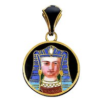 Antique Art Deco Egyptian Revival French Enamel Pharaoh Locket Pendant