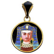 Antique Egyptian Revival French Enamel Pharaoh Locket Pendant