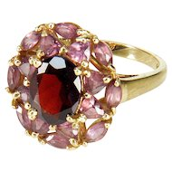 Vintage 10K Gold Red Garnet Pink Topaz Ring Size 6 3/4