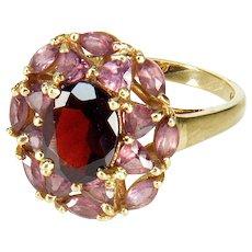 Vintage 10K Gold Red Garnet Pink Topaz Ring Size 6 3/4