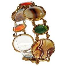 Antique Georgian/Victorian Scottish Agate Gilded Brass Link Bracelet