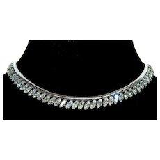 Vintage Krementz Rhodium Plated Diamante Snake Chain Necklace Choker
