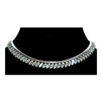 Vintage Krementz Rhodium Plated Diamante Snake Chain Necklace Choker Signed