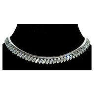 Vintage Krementz Rhodium Plated Diamante Snake Chain Necklace Choker