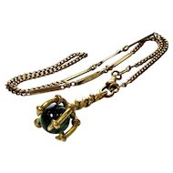 Antique Victorian Gargoyle Claw Holding Green Glass Orb Fob Fancy Link Chain Necklace