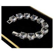 Vintage 80's Swarovski Large Crystals Silver Plated Bracelet Signed