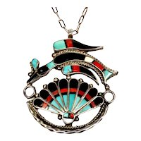 Vintage Signed Zuni H & VY Inlay Peyote / Water Bird Sterling Chain Necklace