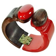 Vintage 30's Chunky Cherry Red Bakelite And Hardwood Clamper Bracelet
