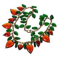 Vintage French Poured Glass Necklace. Fruit Leaves Dangles Brass Chain