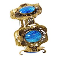 Antique Arts And Crafts Morpho Butterfly Wings Carved Filigree Brass Bracelet