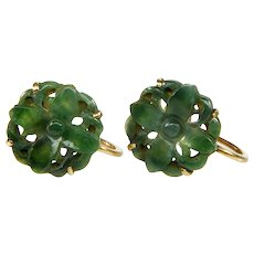 Antique Chinese Carved Jadeite Jade 14K Earrings - Red Tag Sale Item