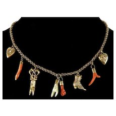 Antique Victorian Carved 8-Charm Gold Filled GF Necklace COral Opal MOP