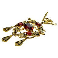 Antique Victorian Ruby Glass Enameled Gilded Brass Lavalier Necklace