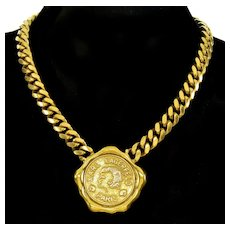 Karl Lagerfeld Houte Cuture Logo Medallions Old Gold Tone Necklace