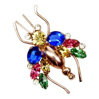 Collectible Sterling By Coro Colorful RS Bug Fly Brooch Pin