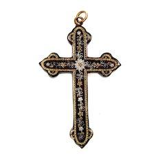 Antique Victorian Pique Inlaid Gold & Silver Cross Pendant