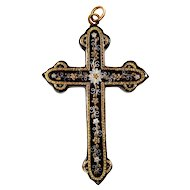 Antique Victorian Pique Inlaid Gold & Silver Cross Pendant