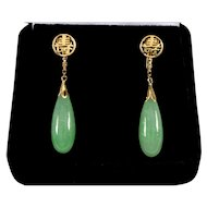 Vintage 20's Jadeite Jade 14K Gold Dangle Earrings