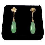 Vintage 20's Jadeite Jade 14K Gold Dangle Earrings