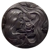 Antique Art Nouveau Gibson Girl Carved Vulcanite Brooch Pin