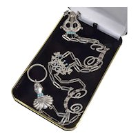 Antique Victorian Fine Detailed Sterling Natural Turquoise Garnet Keychain Chatelaine