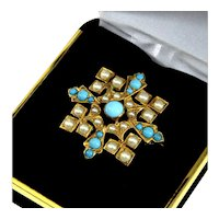 Antique Edwardian Natural Turquoise & Split Pearls Pinchbeck Cross Pin