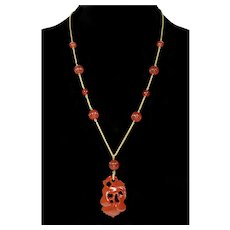 Art Deco Chinese Carved Carnelian Pendant 14K Gold Chain Necklace