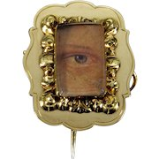 Antique Georgian Gold Cased Lover's Eye Miniature Brooch Pin