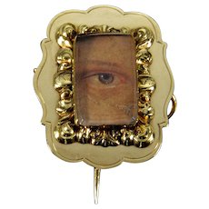 Antique Georgian Gold Cased Lover's Eye Miniature Brooch Pin