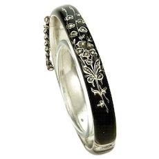 Victorian Austro-Hungarian Black Enamel Seed Pearl Silver Bangle Bracelet