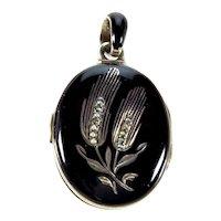 Victorian Austro-Hungarian Black Enamel Seed Pearl Silver Locket Pendant