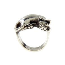 James Yesberger Sterling Cat Lovers RIng Size 5