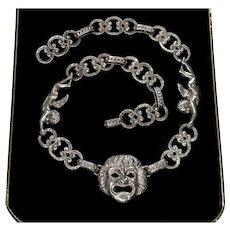 F.lli Peruzzi Sterling Renaissance Revival Greek Mascaron Angels Necklace